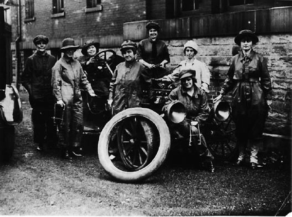 Women also participated in the war effort. These women enrolled in an automobile mechanics class at the 11th and Illinois Street building in 1917.