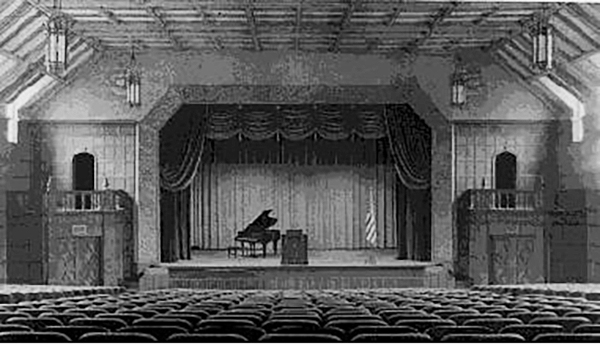 The theater in University Hall as it looked when completed in 1931. It was named in honor of President Henry Doermann following his sudden and unexpected death at the age of 42 in 1932.